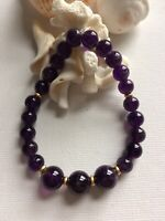 AMETHYST FACETED GEMSTONE  CRYSTAL HEALING  BEAD BRACELET