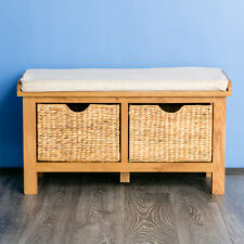 Surrey Oak Hall Bench / Hallway Storage / Solid Wood Bench with Baskets / New