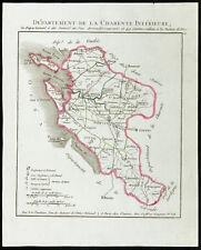 1802 - Carte ancienne département de la Charente inférieure (Charente-Maritime)