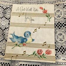 Vintage Greeting Card Get Well Blue Birds Music Notes