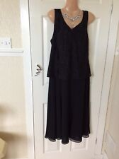 Jacques Vert Size 12 Black Machine Washable Dress With Flowing Top Worn Once