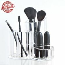 Acrylic Makeup Brush Holder Display Multi Purpose Compartments Cosmetic Clear