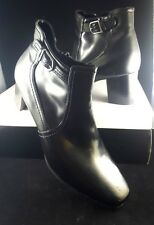 East 5th Womens Ankle Boots 9.5 Size 9 1/2 M Black Buckle Zip Shoes Faux Leather