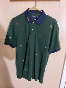 Polo Ralph Lauren Stitch Badge Polo Green Shirt Large New S/S Custom Slim Fit