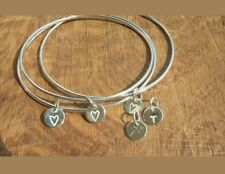 Beautiful Handmade 925 Serling Silver Hammered Bangle with 1 Personalised Charm