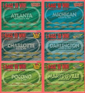 Lot Of 6) 1995 & 1996 Wheels E-RACE To Win Redemption Cards Unscratched