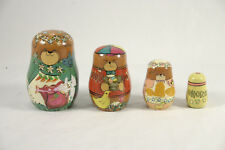 Hand Painted Wooden Nested Matroyshka Doll - Bear Family