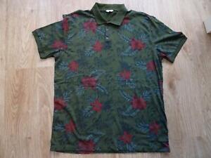 NEXT mens green tropical floral jersey polo t shirt top SIZE XL REGULAR FIT