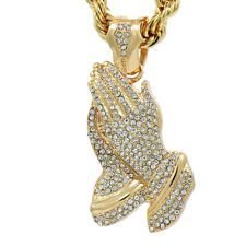 """16k Hip Hop Style Gold Plated Fashion Big Prayer Hand Pendant 9mm 24"""" Rope Chain"""
