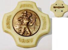 broche ancien bijou vintage médaille cuivre saint Christophe gravé fleur * 5162