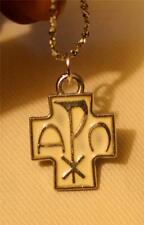 Handsome Small White Enamel Chi Rho Cross Alpha Omega Silvertn Pendant Necklace