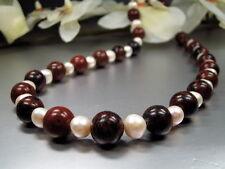 ALTO DESIGN Collana in Mahogany OSSIDIANA con perle