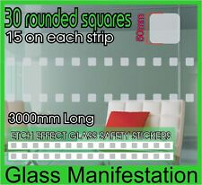 30 Rounded Sq Etch Effect Safety Stickers Glass Manifestation Frosted Vinyl Film