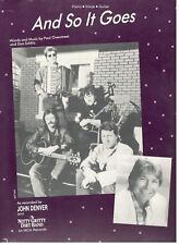 "JOHN DENVER/THE NITTY GRITTY DIRT BAND ""AND SO IT GOES"" SHEET MUSIC-VERY RARE!!"