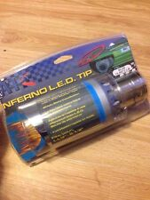 INFERNO APC LED EXHAUST PIPE TAIL MUFFLER TIP Blue FLAMES STAINLESS STEEL