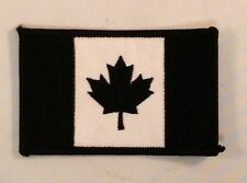 "(F47) Black & White CANADIAN FLAG 3.25"" x 2"" iron on patch Biker Club vest Maple"