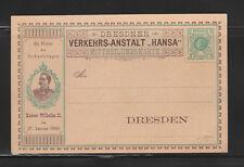 entier postal  carte  Allemagne  Dresden 2 pfennig vert Kaiser Wilhelm II  neuf