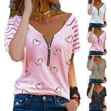Damen Zipper V-Neck T-Shirts Bluse Freizeit Kurzarmshirt Oberteile Sommer Tunika