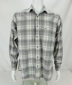 Lacoste Long Sleeve Button Down Plaid Shirt White & Gray Men's Size 40