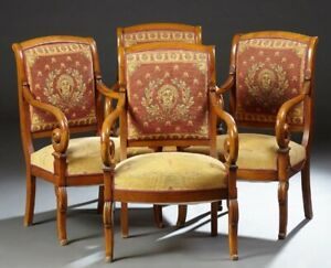 Antique French Empire Carved Cherry Fauteuils   c. 1900   set of 4