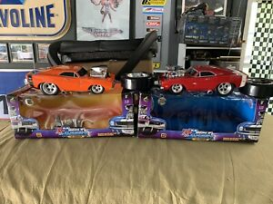 2 muscle machines 69 dodge chargers r/c 1/16 Scale 04 hemi orange red Diff Freqs