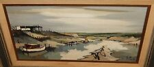 F.CLAUDE FISHING BOATS AT DOCK ORIGINAL OIL ON CANVAS MID CENTURY PAINTING