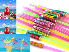 50Pcs Mixed Hawaiian Beach Party Cocktail Umbrella Parasol Drinking Straws