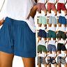 Damen Elastische Taille Hotpants Sommer Sporthose Kurzehose Shorts Unifarben