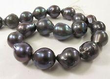14-18 Jumbo Dark Peacock Cultured Baroque Edison Freshwater Pearl Beads (#580)