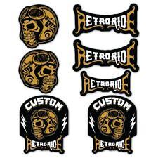 Custom Retro Ride Sticker Set Skull Vintage Motorcycle cafe racer bobber Decals