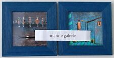 décoration art moderne petit cadre bleu tableau ethnique Afrique africain Lot x2