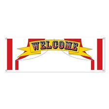 """1 CIRCUS WELCOME SIGN BANNER 60"""" x 21"""" Carnival BIG TOP TENT Party Decoration"""