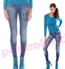 Leggings pantaloni donna BLU effetto jeans style leggins pants DL-330