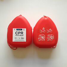 RESUSCITATION POCKET FACE MASK - RED CLAMSHELL CASE -WITH PICTORIAL INSTRUCTIONS