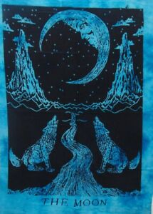 The Moon Crying Wolf Tapestry Cotton ETHNIC Home Decor Poster Tie Dye Tapestry