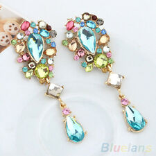 """Bright Pastel Rhinestone  Crystal Drop Earrings Drag Queen Pageant Clip On 3"""""""