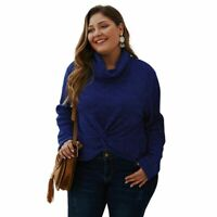 Long Sleeve Womens Sweater Knit Shirt Loose Knitted Plus Size Jumper Tops