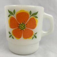 Vintage Anchor Hocking Fire King Milk Glass Mug Cup Orange Red Flower 50s 60s