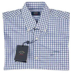 Paul & Shark Mens Short Sleeve Button Down Shirt Blue White Check Size M 40 NEW