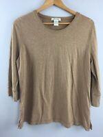 Orvis Hemp Shirt XL Womens Brown Round Neck Top 3/4 Sleeve MM9