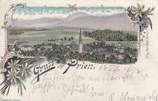 Prien Chiemsee Rosenheim Chiemgau Gesamtansicht Litho gel 1898