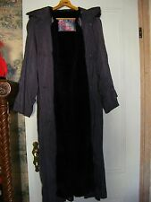 Designer PURPLE Fox Collar WITH HOOD Rabbit Fur Lining Long Coat Size Medium