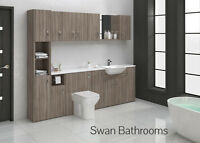 DRIFTWOOD BATHROOM FITTED FURNITURE 2400MM WITH WALL UNITS