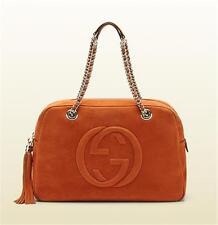 Gucci SOHO GG Nubuck Leather Chain Shoulder Hand Bag Tote Rust Orange $1760