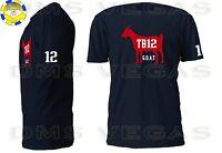 New England Patriots Tom Brady G.O.A.T. TB12 Jersey Tee Shirt Men S-5XL Shadow