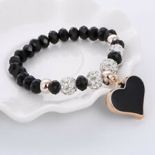 Shamballa Bracelet Black Crystal Beads Heart Charms Bracelets for Women Girls