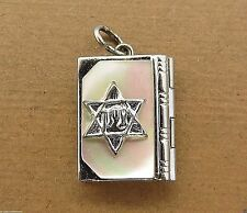 Vintage silver JEWISH HEBREW OLD TESTAMENT BIBLE BOOK LOCKET charm PEARL TOP #M