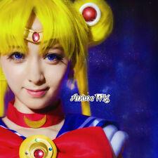 Anime Sailor Moon Princess Usagi Tsukino Yellow Women Cosplay Hair Wig+Ponytails