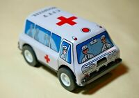 "VINTAGE Tin Toy New Sanko Metal Friction 3"" Ambulance Truck Car Made in Japan"