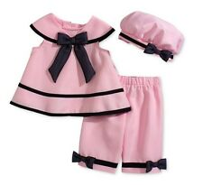 Rare Editions Baby Girls' 3-Piece Pink Dress, Capri & Hat Set, Pink , Size 24 M
